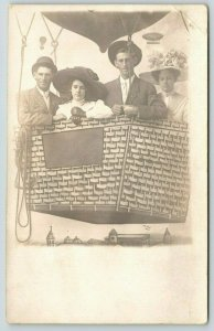 Real Photo Postcard~Bored Couples in Hot Air Balloon~Merry Widow Hats~Blimp~1915