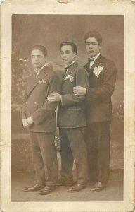 Elegant young men early photo postcard