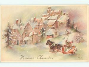 foreign Old Postcard signed HORSE AND SLED DRIVING THROUGH VILLAGE AC3473