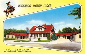BUCKAROO MOTOR LODGE Laramie, WY Lincoln Highway US 30 Roadside Postcard c1950s