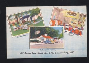 GAITHERSBURG MARYLAND ALL STATES INN RESTAURANT INTERIOR VINTAGE POSTCARD