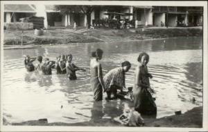 Batavia Java Indonesia Women Wash at River Ethnography Real Photo Postcard #6