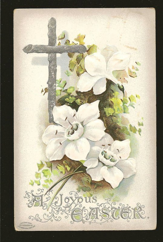 Postmarked 1911 Allandale Ont A Joyous Easter Embossed Color Postcard