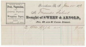1878 Billhead, SWEET & ARNOLD, Fruit & Vegetables, Providence, Rhode Island