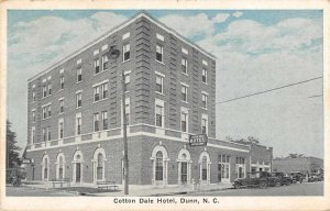 Dunn North Carolina Cotton Dale Hotel Exterior Vintage Postcard JI658213