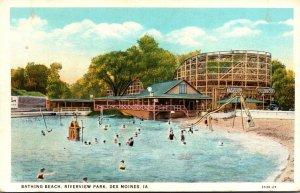 Iowa Des Moines Riverview Park Bathing Beach & Roller Coaster Curteich