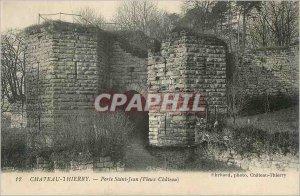 Old Postcard Chateau Thierry door saint jean (old castle)