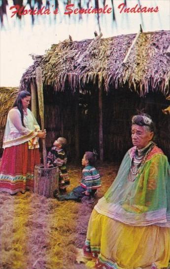 Indians Grinding Corn Meal Seminole Okalee Indian Village In Florida