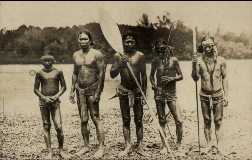 Ethnography - Borneo? Native Men Muscular w/ Paddle Real Photo Postcard dcn  / HipPostcard