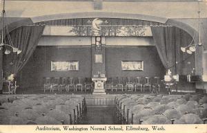 Ellensburg~Washington Normal School~Auditorium Interior~Stage~Lights~1912 B&W PC