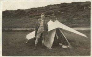 Tent Tenting Camping Man Nature Real Photo Postcard
