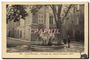 Old Postcard Aix En Provence Fontaine Des Quatre Dauphins