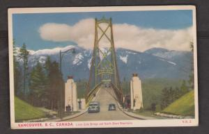 Lions Gate Bridge & North Shore Mountains, Vancouver, BC - Unused c1950