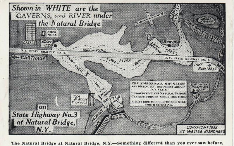 NATURAL BRIDGE, New York, 1910s ; Map of the Caves