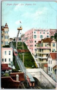 1910 Los Angeles CA Postcard Angels Flight Railway Funicular, Bird's-Eye View