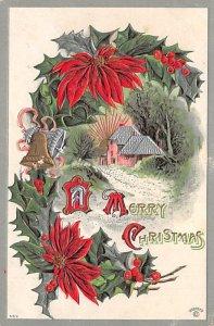 Christmas Post Card Old Vintage Antique Xmas Postcard Unused