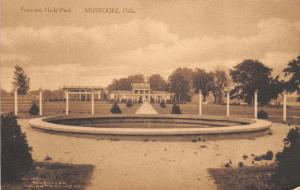 MUSKOGEE OK FOUNTAIN HYDE PARK~INDIAN TRADING COMPANY ALBERTYPE SEPIA POSTCARD