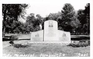 Humboldt Iowa~Stephen Taft Monument~Founder of Unity Church~College c1950 RPPC