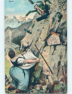 Pre-Linen foreign STOUT WOMAN CATCHING MAN FALLING DOWN SIDE OF MOUNTAIN HL7803