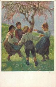 MB Children games round dance vintage postcard