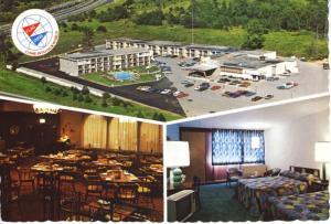 The 401 Inns Kingston ON Ontario Flag Inns Motel Old Cars Multiview Postcard D20