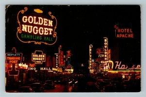 Las Vegas NV- Nevada, Fremont Street At Night, Chrome c1957 Postcard