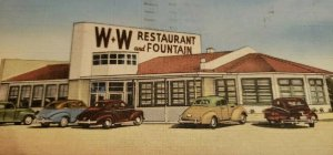 St Petersburg Florida W&W Restaurant & Fountain 1949 Pasadena Ave Postcard   464