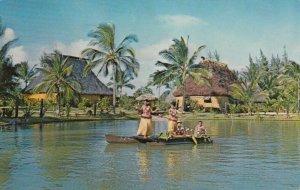Polynesian Cultural Center, LAIE, Oahu, Hawaii, 1970 ; Tahitian Dancers, Canoe