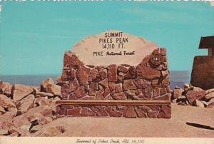 Colorado Pikes Peak Summit Sign