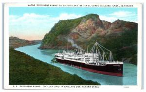 Early 1900s SS President Adams, in Gaillard Cut, Panama Canal Postcard