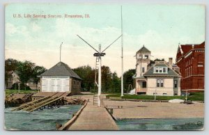 Evanston Illinois~US Life Saving Station~Boat House~Observation Tower~1910