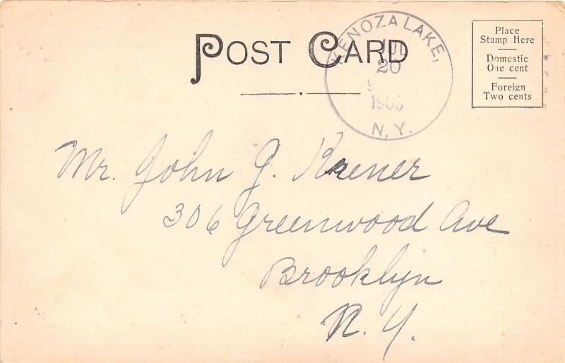 Kenoza Lake New York~Boating On the Rippling Waters~Houses~Bldg~Street~1906 Pc