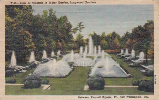 Delaware Wilmington Fountain Water Garden Longwood Gardens 1951 Curteich