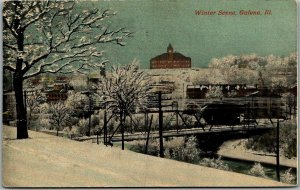 1912 Galena, Ill. Postcard Bird's-Eye Panorama Winter Scene w/ High School View
