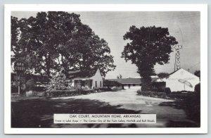 Mountain Home Arkansas~Oak Court~Roadside Motel~Neon Sign~1950s B&W Postcard