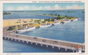 Yachts Moored Along Miami and Miami Beach Causeway Bridge 1936 Curteich