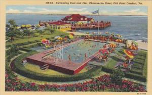 Virginia Old Point Comfort Swimming Pool and Pier Chamberlin Hotel Curteich