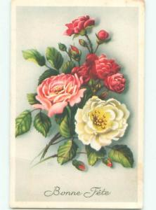 Very Old Foreign Postcard BEAUTIFUL FLOWERS SCENE AA4514