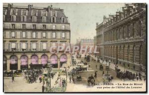 Paris Old Postcard Rue de Rivoli View from the & # 39hotel Louvre