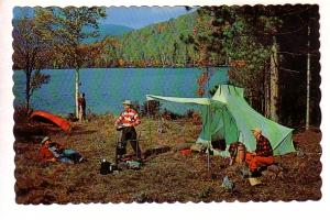 Hunters Camping Beside Lake, Chow Time at Camp, Canada