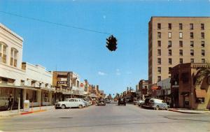 Harlingen Texas~West Jackson Street~Johnson Cafe~Hardware~1940-50s Cars~Postcard