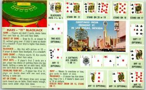 Las Vegas, Nevada Postcard Greetings from FREMONT STREET Blackjack Gaming Guide