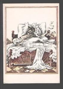3097419 Dressed WOLF in Bed by GOROHOVSKY Old Russian PC