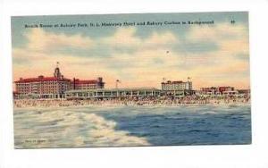 Beach Scene, Monterey Hotel & Asbury Carlton In Background, Asbury Park, New ...