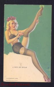 RISQUE MUTOSCOPE CARD SEXY PINUP PRETTY GIRL VINTAGE POSTCARD A RUN ON SUGAR