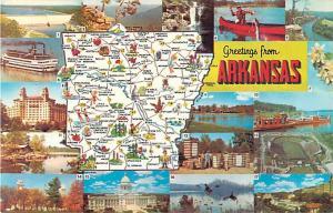 Greetings from Arkansas Map Postcard AR