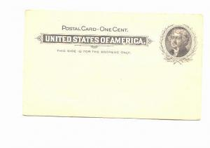 One Cent Us Postal Stationery, Jefferson, UX14, Unused