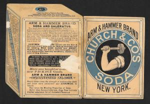 VICTORIAN TRADE CARD Die-cut Arm & Hammer Soda Box Jack Spratt & Wife