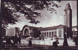P1455 1961 used postcard helsinki station vintage cars etc view switzerland