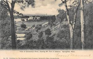 Massachusetts Springfield,   View of Connecticut River, Mt. Tom in distance, ...